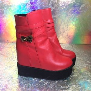 Shoes - Red 2 inch platform boots, new, size 7 1/2